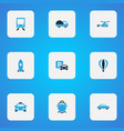 transportation icons colored set with helicopter vector image