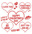 valentines day stamps set vector image