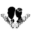 wedding silhouette with flourishes 7 vector image vector image