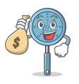with money bag skimmer utensil character cartoon vector image vector image