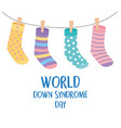 world down syndrome day funny hanging stockings vector image vector image