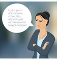 young business woman with speech comment bubble vector image
