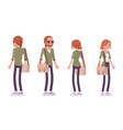 young red-haired man and woman standing vector image vector image