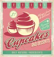 Cupcakes vintage poster design vector image