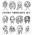 Set of female doodle hand drawn portraits Black vector image
