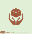 hands holding box logistic icon vector image