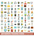 100 remote training icons set flat style vector image