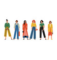 beautiful women or girls standing together vector image