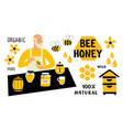 bee honey funny doodle set beekeeper apiculture vector image vector image