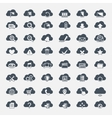 big set forty-six black cloud shapes with icons vector image vector image