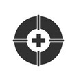 black icon on white background lifebuoy with cross vector image vector image