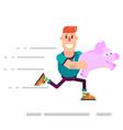 businessman breaking his piggy bank vector image