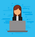 businesswoman with laptop computer avatar vector image vector image