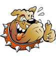 cartoon an excited bull dog giving thumb up vector image
