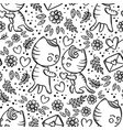 cat gives heart his girl seamless pattern vector image
