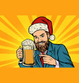 christmas and new year smiling man with a mug of vector image