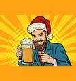 christmas and new year smiling man with a mug vector image