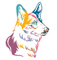 colorful decorative portrait of dog welsh corgi vector image