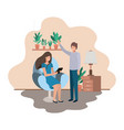 couple using tablet in livingroom vector image vector image