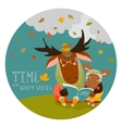 Cute elk with his cub reading book vector image vector image
