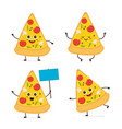 cute smiling happy funny cute pizza slice vector image