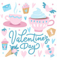 cute valentine s day greetings card with hearts vector image vector image