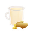 delicious natural tea with ginger in a beautiful vector image vector image