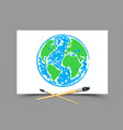 drawing earth on white paper vector image vector image