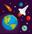 earth planet in space concept background flat vector image vector image
