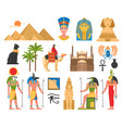 egyptian art flat collection vector image