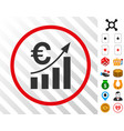 euro bar chart trend rounded icon with bonus vector image vector image