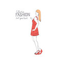 fashion collection clothes female model wearing vector image