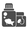 fish feed solid icon fish food vector image vector image
