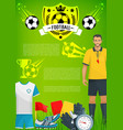 football sport game banner with soccer club badge vector image vector image