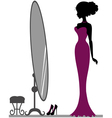 Girl near mirror vector image vector image