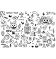 Hand drawn doodle cartoon collection set of