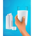 hand holding a glass of milk vector image vector image