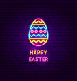 happy easter neon label vector image vector image