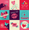 Happy Valentines Day greeting card set vector image