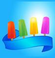 ice lollies and banner over summer blue sky vector image vector image