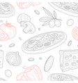 italian pizza seamless pattern traditional vector image vector image
