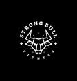 logo strong bull line art style vector image