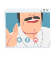 man having video call mustached man chatting vector image