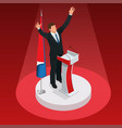 man is the winner in the elections vector image vector image