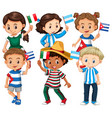 many children holding flag from different vector image vector image