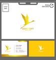 minimalist logo stork bird vector image vector image