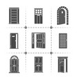 open and closed door silhouettes icons set vector image vector image