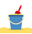 pail with sand and shovel for a sandbox beach toys vector image vector image