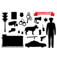 policeman equipment police silhouette icons vector image