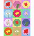 seamless pattern with cartoon flowers 2 vector image vector image